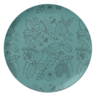 Holly Line Art Design Dinner Plate