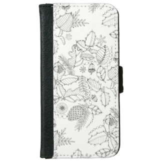 Holly Line Art Design Wallet Phone Case For iPhone 6/6s