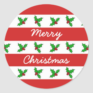 Holly Merry Christmas Classic Round Sticker