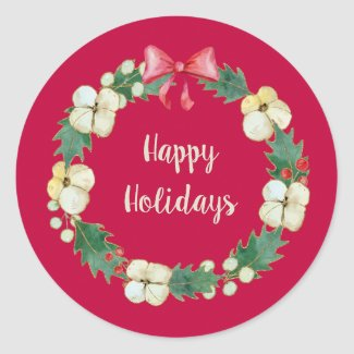 Holly, Mistletoe, and More Personalized Red Classic Round Sticker
