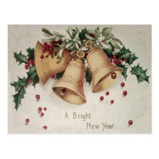 Holly Mistletoe Bells Bell Winterberry Postcard