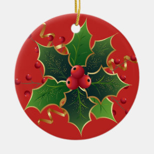 holly mistletoe christmas tree ceramic ornament
