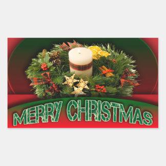 Holly n Christmas decorations modern Rectangular Sticker