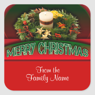 Holly n Christmas decorations modern Square Stickers