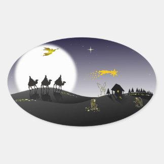 Holly Night Oval Sticker