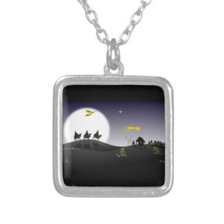 Holly Night Square Pendant Necklace
