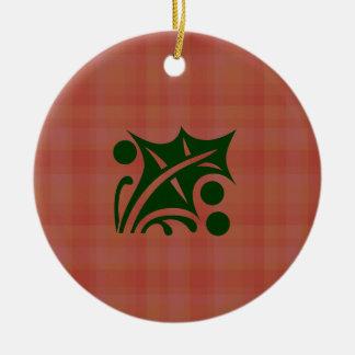 Holly on Plaid Ornament