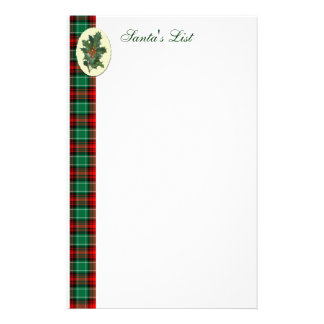 Holly on Red Green Plaid Custom Holiday Stationery