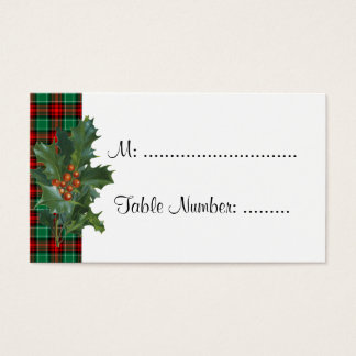 Holly on Red Green Plaid Custom Table Cards