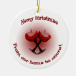 Holly ornament w/red wine