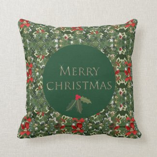 Holly Pattern Green and Red Christmas Square Throw Pillow
