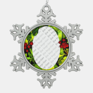 Holly Photo Frame personalized Snowflake Pewter Christmas Ornament