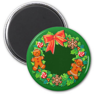 HOLLY, PINWHEELS & GINGER WREATH by SHARON SHARPE 2 Inch Round Magnet