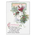Holly & Poinsettia Little Girl Vintage Christmas Cards