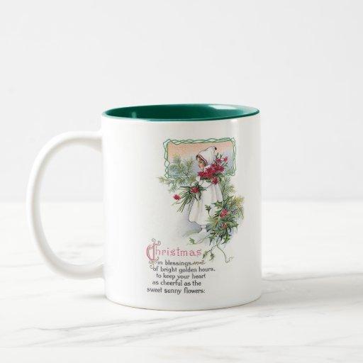 Holly & Poinsettia Little Girl Vintage Christmas Mug