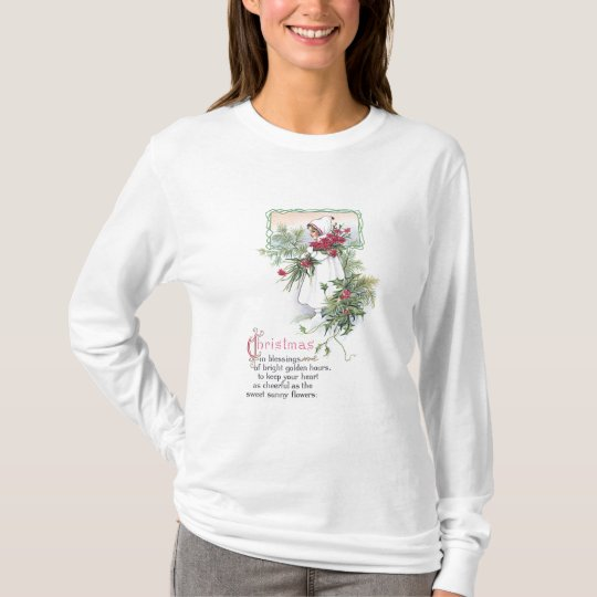 Holly & Poinsettia Little Girl Vintage Christmas T-Shirt