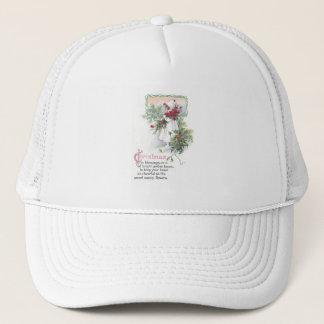 Holly & Poinsettia Little Girl Vintage Christmas Trucker Hat