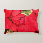 Holly Point Poinsettias Christmas Holiday Floral Decorative Pillow