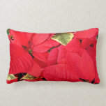 Holly Point Poinsettias Christmas Holiday Floral Lumbar Pillow