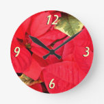 Holly Point Poinsettias Christmas Holiday Floral Round Clock