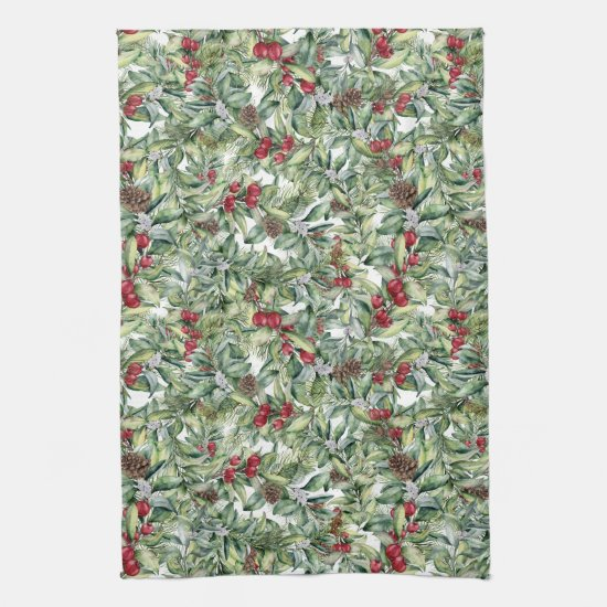 Holly Red Berries Mistletoe Christmas Greenery Kitchen Towel