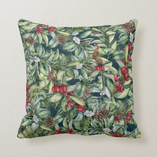 Holly Red Berries Mistletoe on Navy Background Throw Pillow