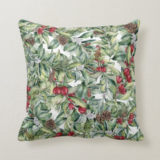 Holly Red Berries Mistletoe on White Background Throw Pillow