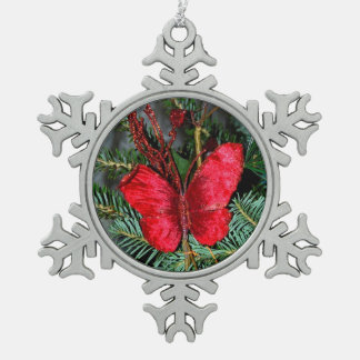 Holly Red Butterfly Christmas Ornaments