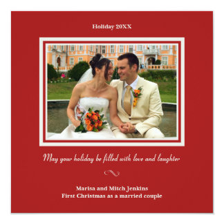 Holly red christmas holiday photo greeting card