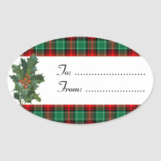 Holly Red Green Plaid Custom Sticker