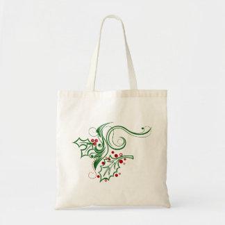 Holly Ribbons Tote Bag