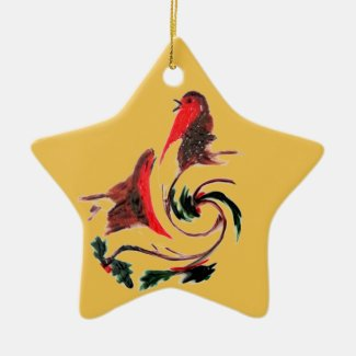 Holly Robin Dance Ceramic Ornament