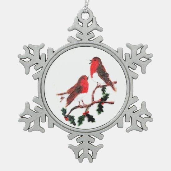 Holly Robin Festive Art Snowflake Pewter Christmas Ornament