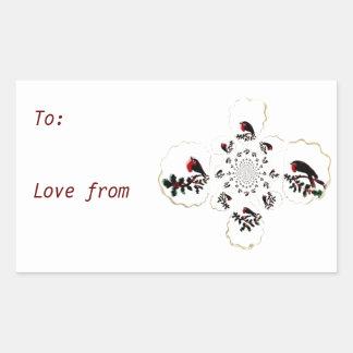 Holly Robin Festive Fun Rectangle Sticker