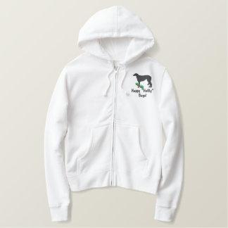 Holly Scottish Deerhound Embroidered Zip Hoodie