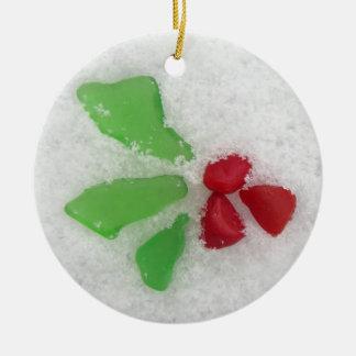 """Holly"" Sea Glass on Snow Christmas Ornament"