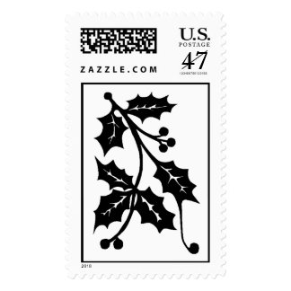Holly Silhouette - Postage Stamp