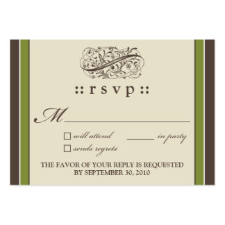 "::holly:: Simply Elegant 3.5""x2.5"" RSVP Card_v2 Large Business Cards (Pack Of 100)"