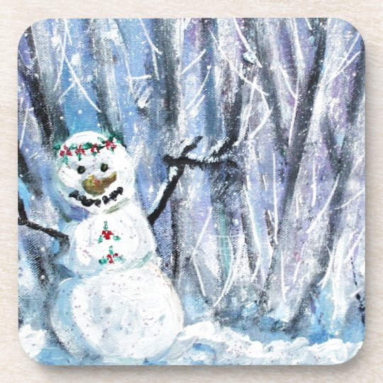 Holly Snowman Beverage Coaster