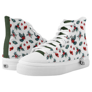 Christmas Sneakers.Holly Sprig Christmas High Top Sneakers