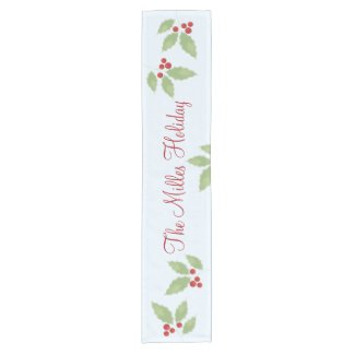 Holly Sprig Personalized Table Runner