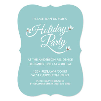 Holly Sprigs Holiday Party Invitations (blue)