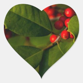 Holly Heart Sticker