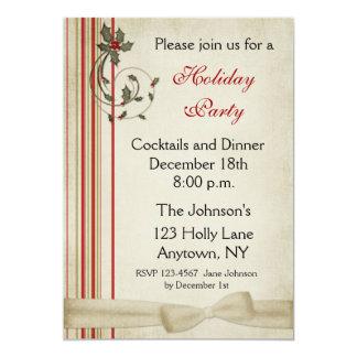 Holly Stripes Holiday Party Invitation