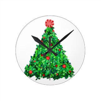 Holly Tree Round Clock