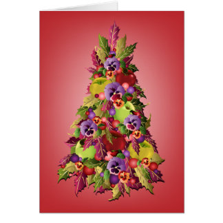 Holly Tree with Apples and Pansies Pink Christmas Greeting Card