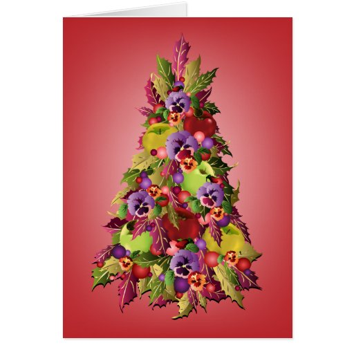 Holly Tree with Apples and Pansies Pink Christmas Cards