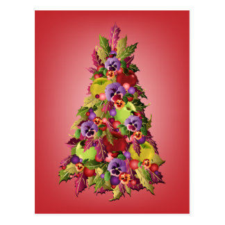 Holly Tree with Apples and Pansies Pink Christmas Postcard