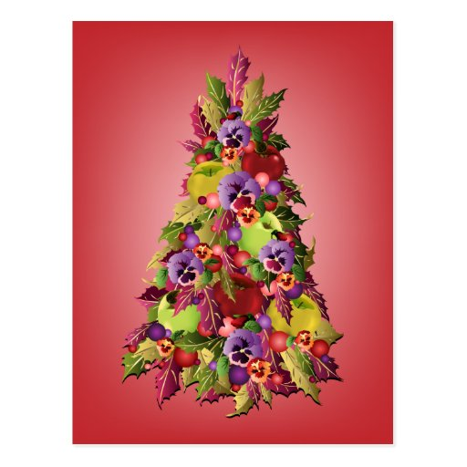 Holly Tree with Apples and Pansies Pink Christmas Post Card