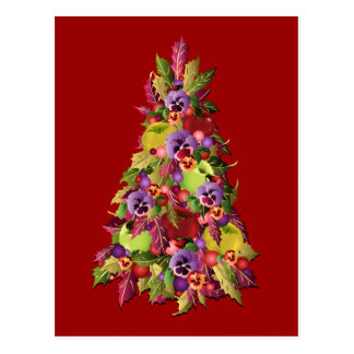Holly Tree with Apples and Pansies Postcard